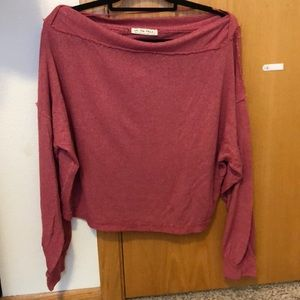 Free people pink off the shoulder sweater